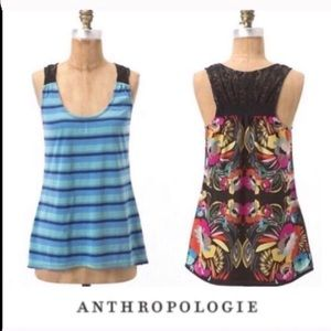 Anthropologie One September Striped Floral Top